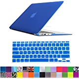 "HDE Frosted Rubberized Hard Shell Plastic Case + Matching Keyboard Skin for Macbook Air 11.6"" A1370 and A1465 models (Dark Blue)"