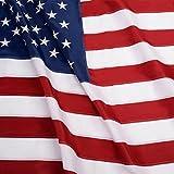 G128 - U.S. Nylon US Flag 3x5 Ft Embroidered Stars Sewn Stripes Brass Grommets 210D Quality Oxford Nylon (3X5 FT, US Flag)