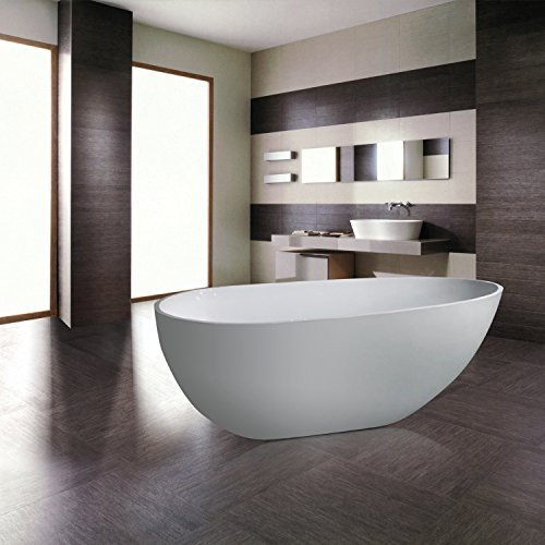 MAYKKE Naples 67 Inches Modern Oval Acrylic Bathtub Freestanding White Tub in Bathroom, 13-13/16 Inches Water Depth, XDA1406001 (Bathroom Tub Free Standing compare prices)