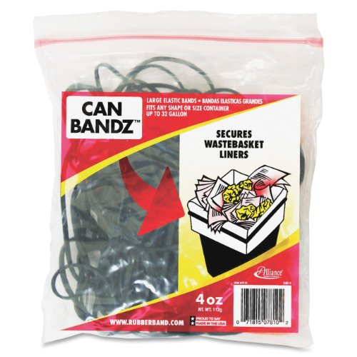Alliance Can Bandz - Large Elastic Bands for Keeping Wastebasket Liners Secure - 7 x 1/8 Inches Black Bands - 50 per Resealable Bag (7810) (Rubber Band Trash Can compare prices)