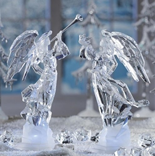 Pack of 2 Icy Crystal Illuminated Angel Ice Sculpture Figurines 11