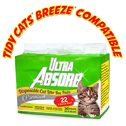 Ultra Absorb Tidy Cats Breeze Pad Compatible Premium Cat Pads Refills -  with 2 Bonus Pads (Tidy Breeze Pellets compare prices)