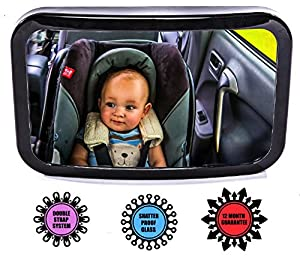 Baby Car Mirror - Fully Adjustable Convex Wide View of Your Rear Facing Infant in Back Seat + FREE GIFT and 12-MONTH SATISFACTION GUARANTEE - Luxury Quality - Shatterproof Safety Mirror - ULTRA-STRONG SECURE DOUBLE STRAP - For Happy Babies on the Move
