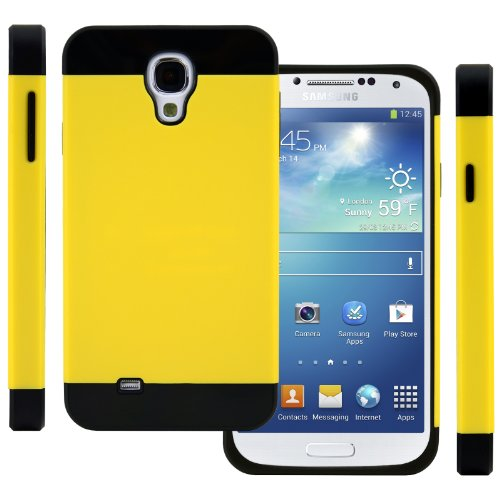 Celljoy Hybrid Tpu 2Pc Layered Hard Case Rubber Bumper For Samsung Galaxy S4 Siv (At&T / Verizon / Us Cellular / Sprint / T-Mobile / Unlocked) [Celljoy Retail Packaging] (Yellow / Black)