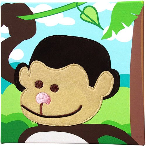 Baby Embellished Canvas Fuzzy Jungle Safari Monkey Wall Art Decor - 1