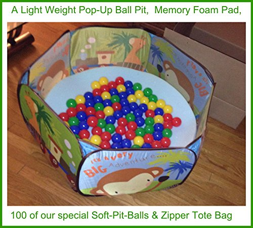"""36"""" X 36"""" Pop-Up Play-Ball Pit With A Special 1"""" Foundation Memory Foam Pad And 100 Next Generation Playsoftballs - Phthalate Free Pit Balls Packed In Zipper Tote Bags. Each Ball Measures 2.4"""", A Great Size For All Ages. Designed For Younger Children Incl"""
