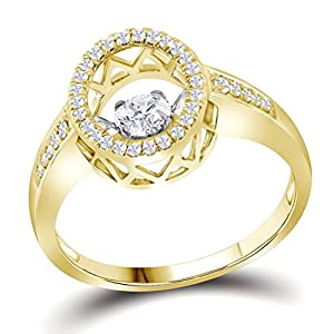Twinkle Diamond Ring Halo wtih Side Diamonds 10k Yellow Gold 3/8 CTW 37 Diamonds, 7