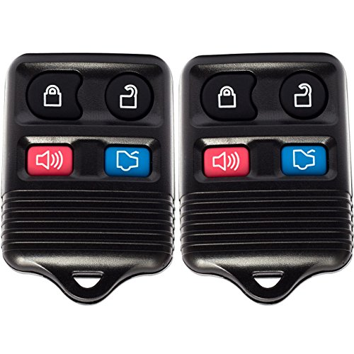 OxGord Keyless Entry - 2 Pair Remote Control Shells with Chips, Batteries & Case Cover - Option for Ford 4 Button Alarm, Trunk, Lock, and Unlock Key Fob Clicker Transmitter (Car Battery Alarm compare prices)