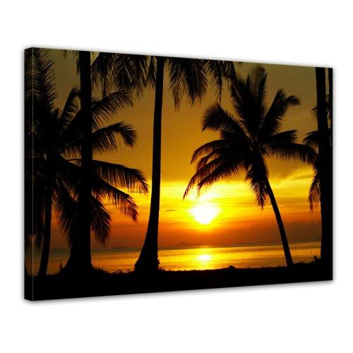Bilderdepot24 Leinwandbild Sonnenuntergang in der nähe des Äquators - 70x50 cm 1 teilig - fertig gerahmt, direkt vom Hersteller