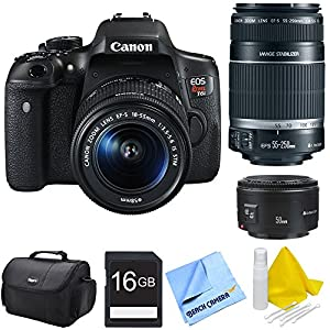 Canon EOS Rebel T6i Digital SLR Camera with EF-S 18-55mm STM, 50mm F/1.8 and EF-S 55-250mm f/4-5.6 IS II Telephoto Lens Bundle includes Camera, Lenses, Compact Deluxe Gadget Bag, 16GB Memory Card, 3 Piece Lens Cleaning Kit and Micro Fiber Cloth