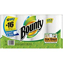 Bounty 12 big rolls = 16 regular rolls Select-A-Size Big Rolls Paper Towels