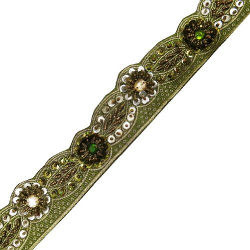 Green Cut Work Style Beaded Trim Sequin Decorative Border Lace Sewing Craft 1 Yd