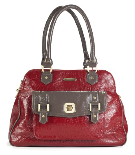 timi & leslie Sophia 7-Piece Diaper Bag Set, Cherry Red/Taupe - 1
