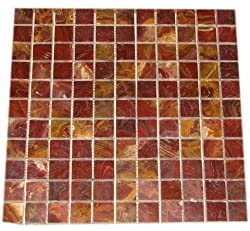 "Red Onyx 1x1 Polished Mosaics Meshed on 12"" X 12"" Tiles for Bathroom Flooring, Kitchen Backsplash, Shower Walls"