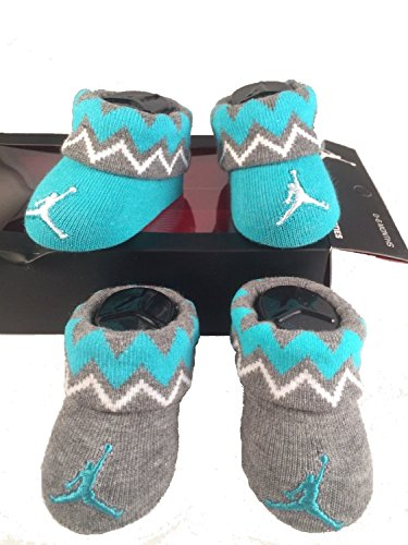 Nike Jordan Jumpman 23 Baby Booties, Gray Green Vintage, 0-6 Month, 2 Pair.