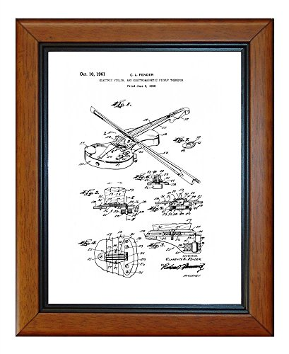 """Electric Violin Electromagnetic Pickup Patent Art White Matte Print In A Honey Glazed Wood Frame (11"""" X 14"""")"""