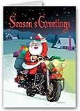 Harley Davidson Motorcycle Santa Card- 18 Cards & Envelopes