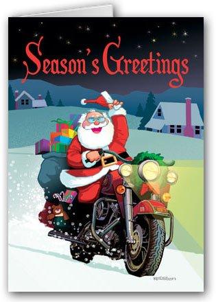Harley Davidson Motorcycle Santa Card- 12 carsd/13 envelopes