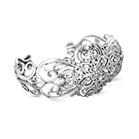 Relios Sterling Silver Heirloom Heart Cuff Bracelet from Relios