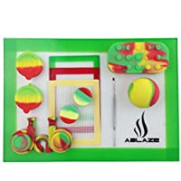 ABLAZE Rasta Big Bulk Pack Nonstick Silicone Oil Wax Container Jar Mat Pad With Carving Tool Kit from ABLAZE