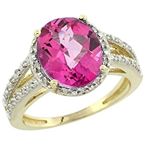 14K Yellow Gold Natural Pink Topaz Diamond Halo Ring Oval 11x9mm, size 8