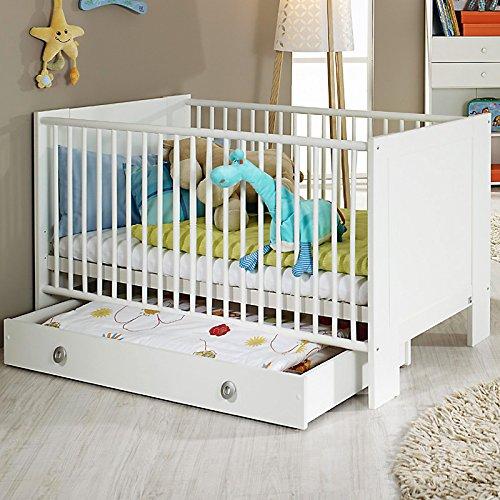 Babybett Gitterbett Sprossenbett Babymöbel Kinderbett weiß Babyzimmer Bett
