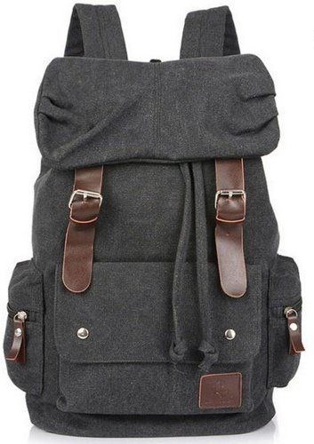 Eshops Canvas Casual Backpack for Women & Girls Boys Backpacks for Middle School College Book Bags (Black)