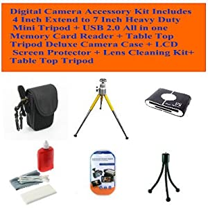 Fujifilm Finepix Z90, Z33wp, Z70, Z900exr, Z20fd, Z800exr, Z30, Z37, Z85 Digital Camera Accessory Kit Includes 4 Inch Extend to 7 Inch Heavy Duty Mini Tripod + USB 2.0 All in One Memory Card Reader + Table Top Tripod Deluxe Camera Case + LCD Screen Protector + Lens Cleaning Kit+ Table Top Tripod