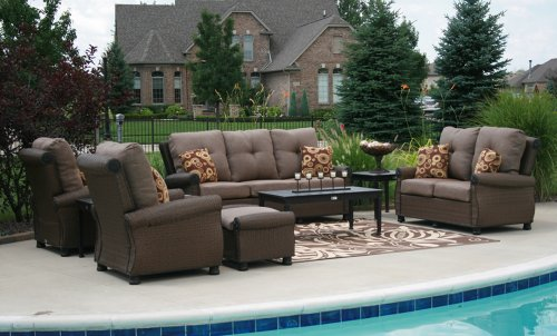 The Giovanna Collection 9-Piece All Weather Wicker/Cast Aluminum Patio Furniture Deep Seating Set picture