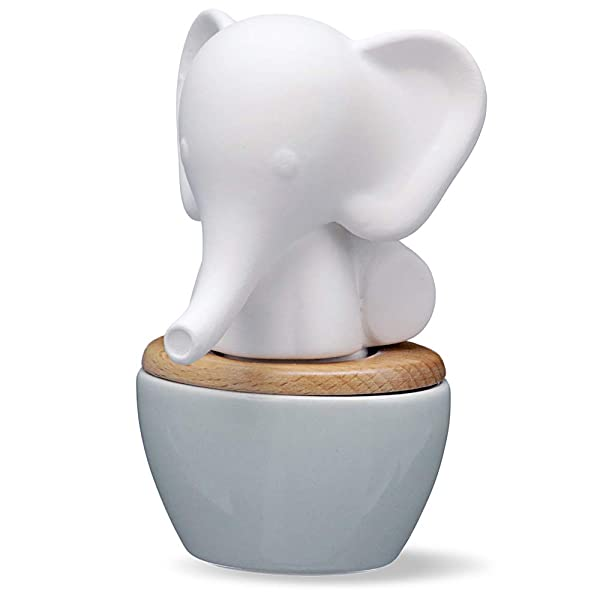 Elephant Aroma Diffuser | Small Ceramic and Porcelain Wicking Diffuser for Essential Oils | Subtle, Fresh Aroma for Home or Office | 15mL Reservoir, 2 Weeks per Fill | No Electricity or Water Required