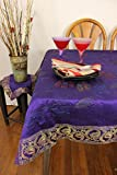 "Hand Painted Floral Rectangular Tablecloth (Plum Purple, 60"" X 104"")"