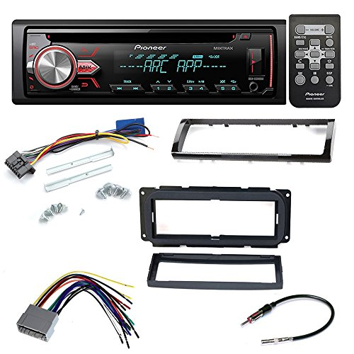 DEH-X2900UI SINGLE DIN IN-DASH CD/AM/FM CAR STEREO RADIO DASH INSTALLATION MOUNTING KIT+ ADD ON STORAGE POCKET+ WIRING HARNESS + RADIO ANTENNA ADAPTER FOR SELECT CHRYSLER DODGE JEEP VEHICLES (Car Add On Wiring compare prices)