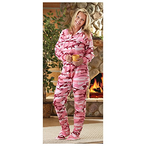 Women'S Guide Gear Footy Pjs, Pink Camo, M