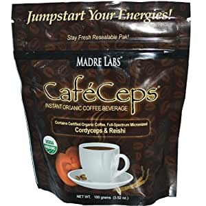 Madre Labs, CafeCeps, Instant Organic Coffee Beverage, Stay Fresh Re-Sealable Pak!, 3.52 oz (100 g) Pack Of 2