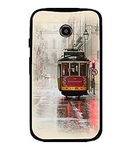 Printvisa Vintage Tram Pic Back Case Cover for Motorola Moto E2::Motorola Moto E (2nd Gen)