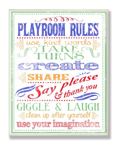 The Kids Room by Stupell Colorful Playroom Rules Use Kind Words Rectangle Wall Plaque
