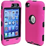 Deluxe Pink 3-part Hard/Skin Case Cover For iPod Touch 4 4G 4th Gen