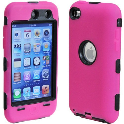 TVS(TM) Snap-On Protector Hybrid Hard/Gel Case for Apple iPod Touch 4th Generation / 4th Gen ipod touch 5 case e lv ipod touch 5 case hard and soft hybrid armor defender sports combo case for apple ipod touch 5 itouch 5th generation with 1 screen protector 1 black stylus 1 water resistant bag and 1 e lv microfiber digital cleaner