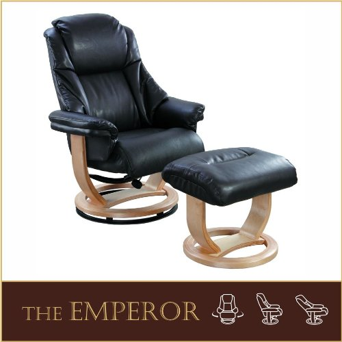 The Emperor - Bonded Leather Recliner Swivel Chair  &  Matching Footstool in Black
