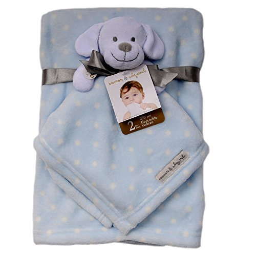 Baby's Soft Animal Dot Printed Blanket with Matching Nunu Set Blue - 1