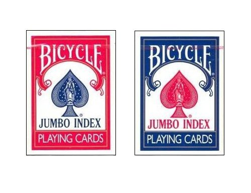 "Bicycle 2 Deck Set Poker Size 3.5"" x 2.5"" Jumbo Index Playing Cards, 1 Red 1 Blue deck"