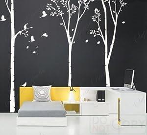 Custom popdecals on sale three big birch for Beautiful birch tree wall mural