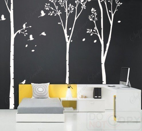 Us made custom color popdecals on sale three big birch trees wall decals ebay - Wall decor murals ...