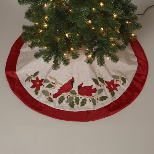 Burlap cardinal tree skirt quot home garden decor seasonal