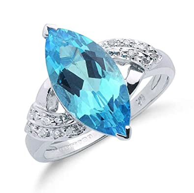 9ct White Gold Real Blue Topaz Marquise & Diamond Ring 4.90ctw