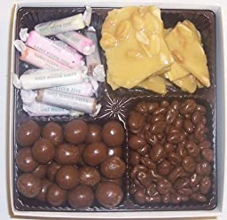 Scott\'s Cakes Large 4-Pack Peanut Brittle, Chocolate Malt Balls, Salt Water Taffy, & Chocolate Raisins