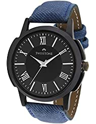 Swisstone GR019-BLK-BLU Black Dial Blue Strap Analog Wrist Watch For Men/Boys