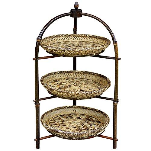 黒竹アフタヌーンティースタンド(三段)、虎竹平かご3枚セット