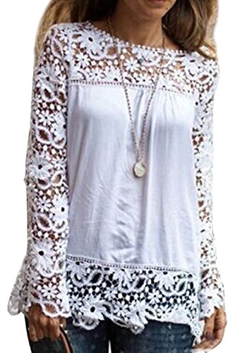 Cutiefox Womens Lace Shoulder Crochet Summer Blouse Tops Shirts, White, X-Large (Ladies Blouses And Tops compare prices)