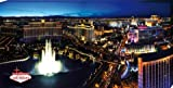 Posters: Las Vegas Stretched Canvas Print - The Strip And The Fountains Of Bellagio By Night (47 x 24 inches)
